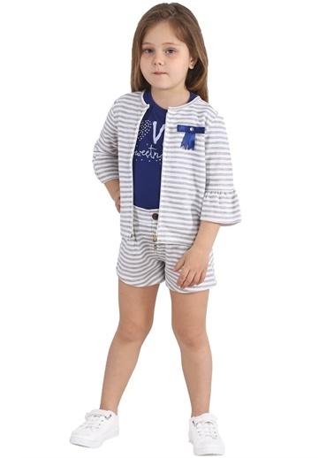 Silversun Kids Kız Çocuk Çizgili Kolları Fırfırlı Fiyonk Detaylı Sweatshirt Jm 215443 Gri